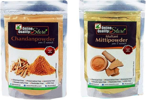 Online Quality Store Pure Organic Sandalwood Powder For Skin Whitening (Chandan Powder)(150g) + Pure Multani Mitti Powder (250g) Total