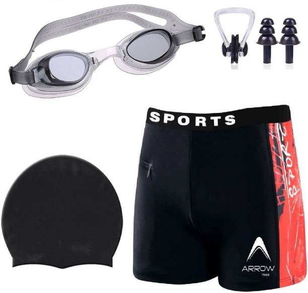 ArrowMax HIGH QUALITY MEN SWIMMING COSTUME FREE SIZE (28in-34in) GOGGLES CAP 2 EARPLUG NOSE CLIP SWIMSUIT Swimming Kit