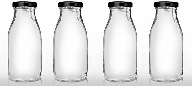 CRAZYINK Hygienic Air Tight Italian Glass Water/Milk/Juice Bottle with Air Tight Cap 300 ml Bottle