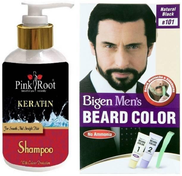 PINKROOT Kertain Shampoo With Bigen Men's Beard Color B101 Natural Black