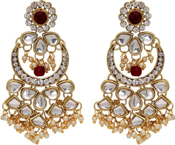 ec1c1eb74 Jaipur Mart Maroon Color Kundan Earrings For Girls & Women Alloy Drops &  Danglers