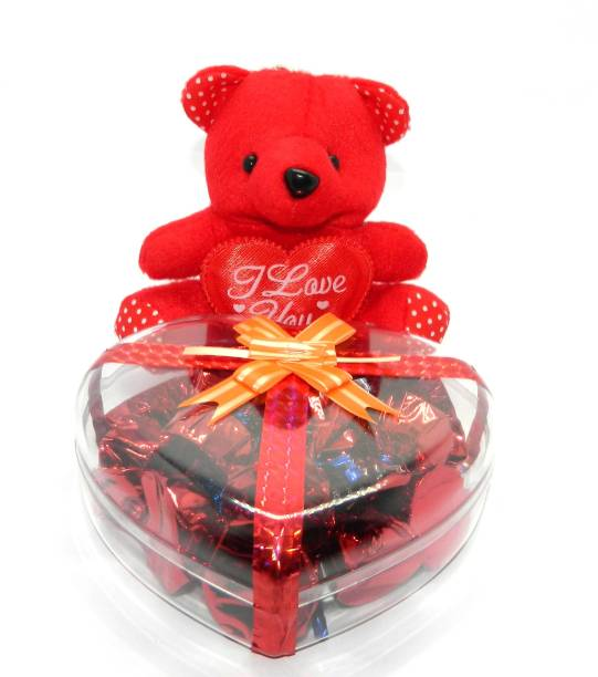Rich'U Chocolates Heart Shape Acrylic Box With a Cute Teddy Bear Combo