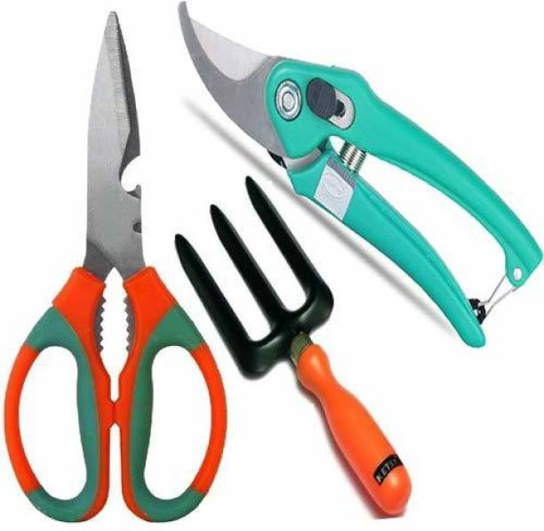 JetFire 3 pcs Gardening Tools Combo of Scissor, Fork and Garden Scissors Pruning Bypass Secateurs Flower Cutter Branch Trimmer Carbon Steel Blade with Lock (3 Tools) Garden Tool Kit