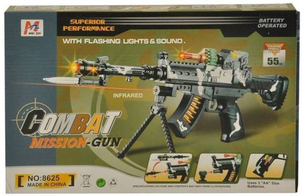 jojoss Combat Mission Gun Battery Operated Infrared with Flashing Lights & Sound for 3+ Kids Guns & Darts
