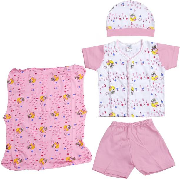 LITTLE HUB New Born Baby Pink Color Gift Set