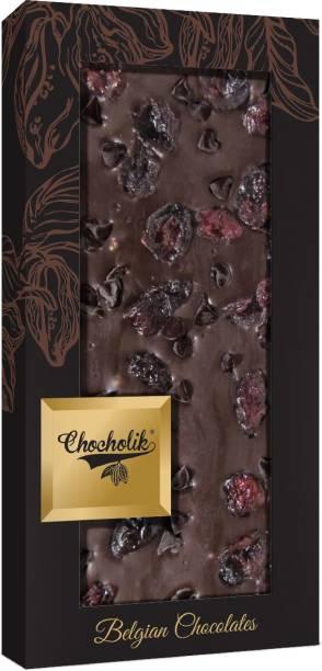 Chocholik Belgium 70% Dark Cranberry with Choco Chips Chocolate Bar 100gm (3.5Oz) Bars