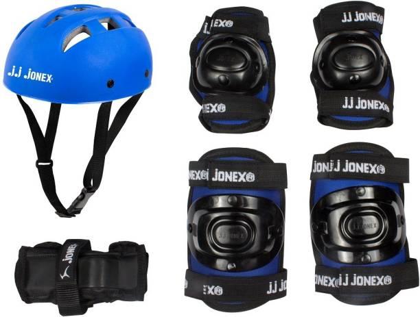 JJ Jonex Protection kit Blue with 1 PVC Helmet, 1 Pair Of Knee Cap, 1 Pair Of Elbow Cap, 1 Pair of Pam @ Kin Store Skating Kit