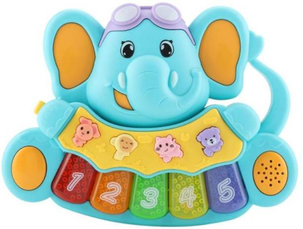 Pluspoint Cute Baby Musical Elephant Piano with Light and Sound Infant Musical Toy