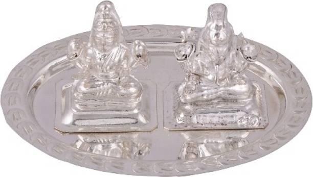 Empire Gift Silver Plated Laxmi Ganesh Pooja Thali Set of 3 Pcs Silver Plated