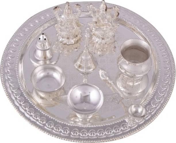 Empire Gift Silver Plated Royal Laxmi ganesh Pooja Thali Set Of 9,Brass pooja thali Set Silver Plated