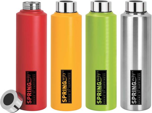 SPRINGWAY Stainless Steel Water (Set of 4, Multicolor) 1000 ml Bottle