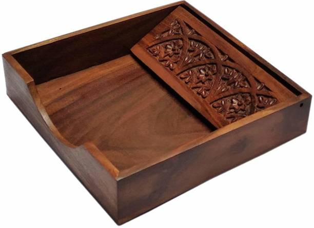WoodCart 1 Compartments Rosewood Wooden Tissue Paper Rack/ Napkin Holder Stand Square Full Carved Rosewood 7.5 * 7.5 inch