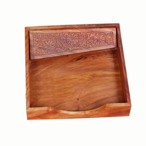 WoodCart 1 Compartments Rosewood Wooden Tissue Paper Rack/ Napkin Holder
