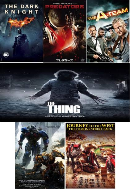 The Dark Knight (2008) , Predators (2010) , The A-Team (2010) , The Thing (2011) , Transformers: The Last Knight (2017) , JOURNEY TO THE WEST 2 (2017) 6 Movies in dual audio Hindi and English play only in computer or laptop not original it's burn DATA DVD without poster clear HD print clear voice
