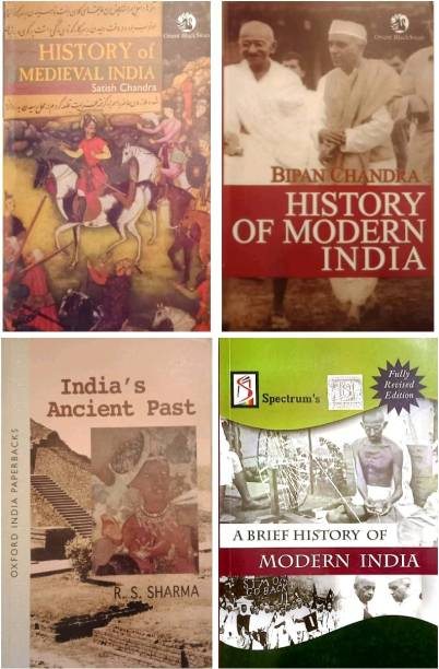 Best Sellening Book For BPSC & UPSC India Ancient Past By R.s Sharma + History Of Medieval India By Satish Chandra +History Of Modern India + Spectrum A Brief History ( K Chandan Gupta )