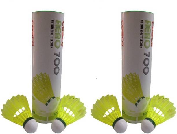 Cosco AERO 700  Pack of 12  Nylon Shuttle   Yellow Slow, 75, Pack of 12