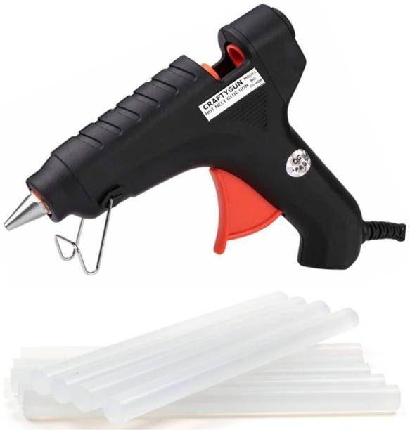 CRAFTYGUN GLUE GUN BLACK 40 WATT RED TRIGGER (11MM 8 GLUE STICKS) Standard Temperature Corded Glue Gun
