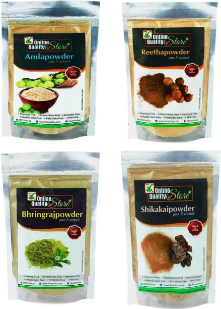 Online Quality Store Organic Amla Reetha Shikakai Bhringraj Powder_400g