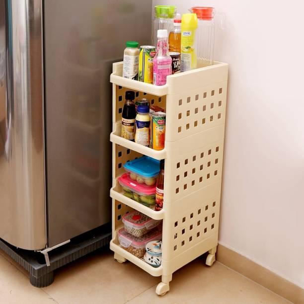 Kurtzy Kitchen rack Plastic Kitchen Trolley