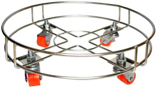 Vihaa Cylinder Trolley | Stainless Steel Gas Cylinder Trolley with Wheels | Cylinder Stand | Movable Cylinder Stand, Silver Gas Cylinder Trolley