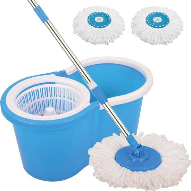 DAIVE 360° Spin Floor Cleaning Easy Advance Tech Bucket PVC Mop & Rotating Steel Pole Head with Wheels 2 Microfiber Refill (Blue) Mop Set