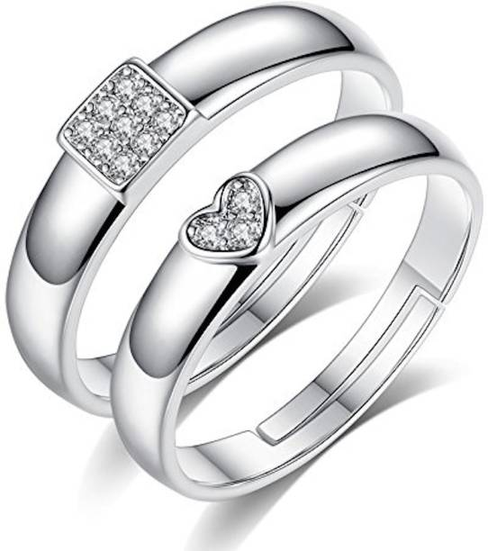 8a59b3c99a Via Mazzini His and Her Matching Adjustable Promise Couple Alloy Crystal  Silver Plated Ring Set