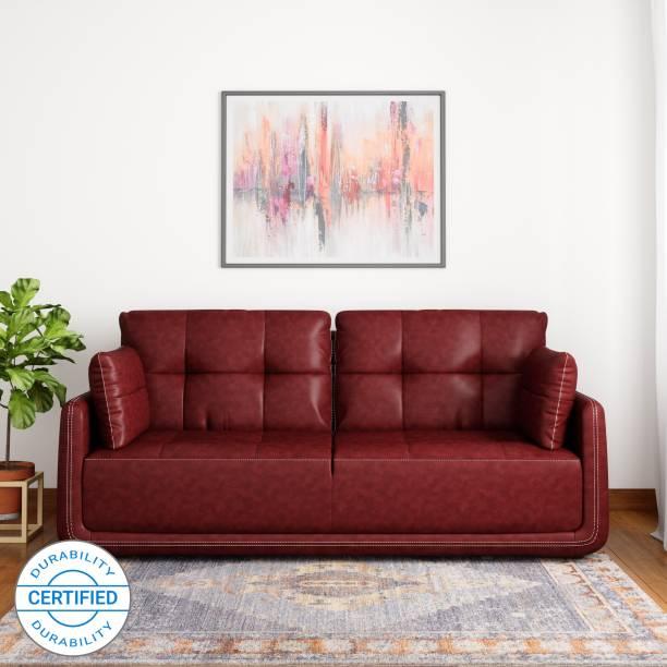 MUEBLES CASA Mind Cedar Leatherette 3 Seater  Sofa
