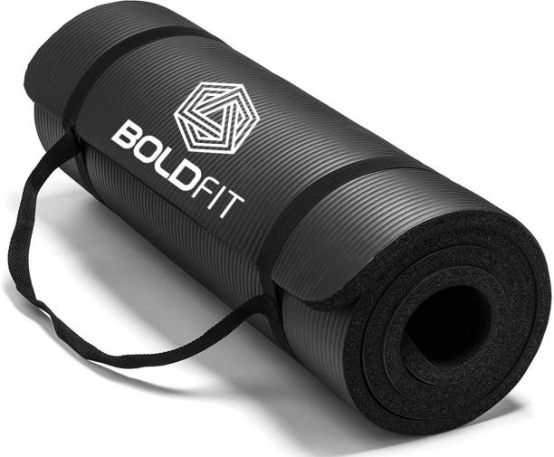 BOLDFIT NBR Yoga Mat For Women & Men-10mm Thick Non Slip Exercise mat For Home-Gym Workout Black 12 mm Yoga Mat