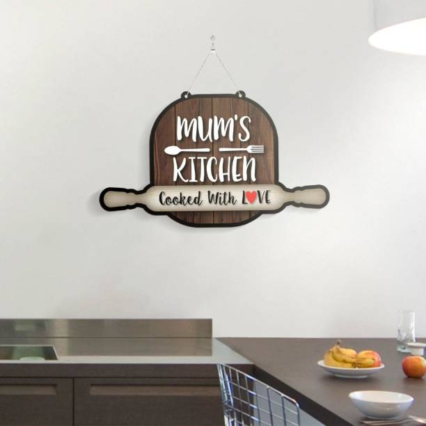 100yellow Wooden Mum's Kitchen Name Plate