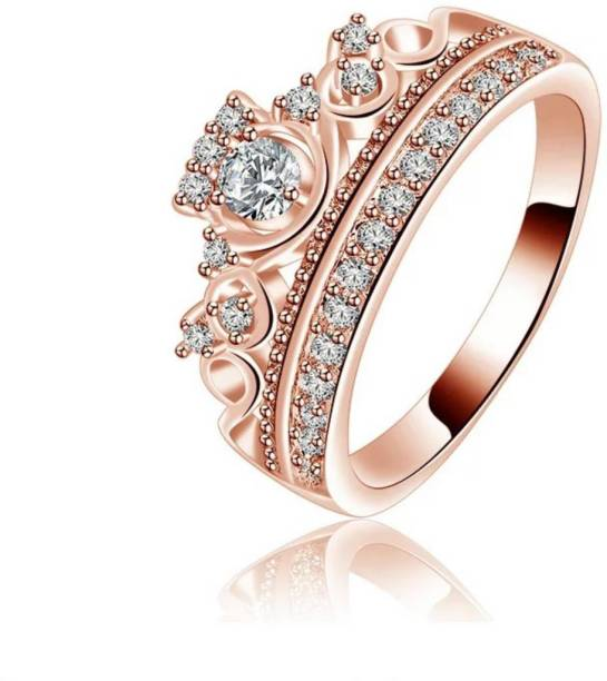 e09dd3ad841841 MYKI Princess Queen Rose Gold Plated Ring For Women   Girls Stainless Steel  Swarovski Crystal Gold