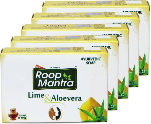 Roop Mantra Lime & Aloevera Soap 100 gm, Pack of 5 (Ayurvedic Soap for Men & Women, Protects skin from Blemishes & Boils, Bath Soap)
