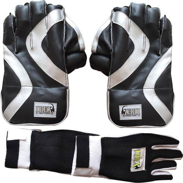 IBEX Practice Wicket Keeping Gloves Combo Black With Inner Gloves Wicket Keeping Gloves