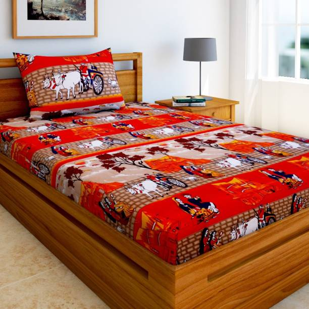Home Elite 144 TC Microfiber Single 3D Printed Bedsheet