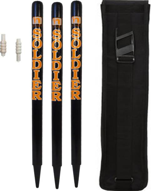 GLS (TM) Black Soldier Cricket Wooden Stumps (Set of 3) With Bails & Tetron Cover