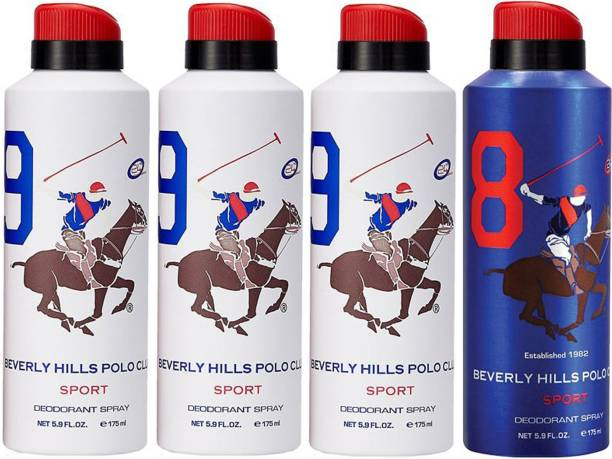 BEVERLY HILLS POLO CLUB Three No. 9 and One NO. 8 Deodorant Spray  -  For Men