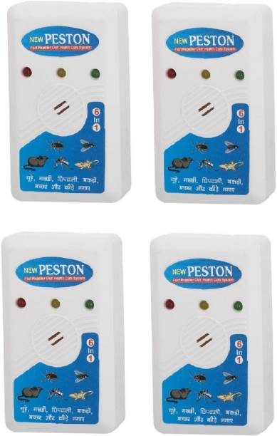 PESTON PremiumXL Ultrasonic Electro Magnetic Pest Repellent For Mosquitoes,Rats,Cockroach,Spiders Bugs,Lizards, & Other Insects(Pack of 4) Electric Insect Killer