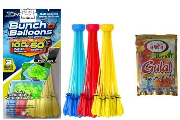 VR Creatives Combo Of Automatic Filling & Tie Holi Balloons With Nozzle & Herbal Gulal Packet (111 Pcs) Holi Color Powder Pack of 2
