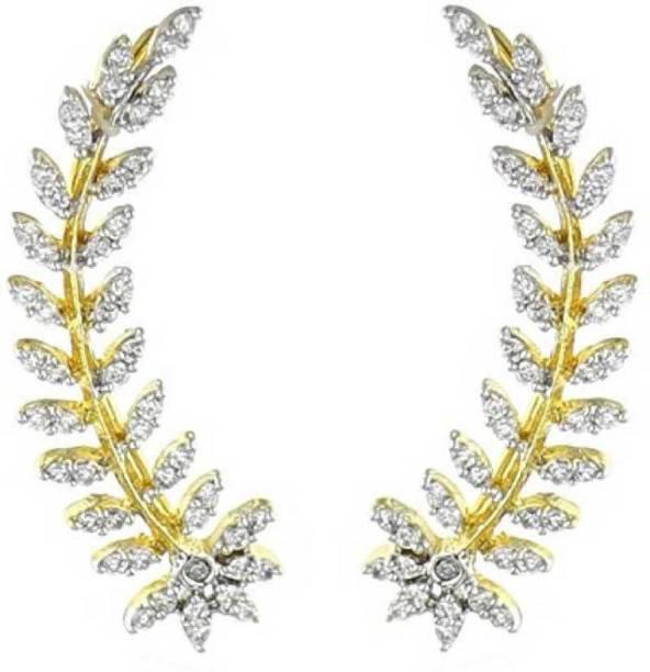 5ee1f1f53 Dokari Gold Plated American Diamond Leaf Shape Trandy Ear Cuffs Earrings  Jewllery For Women And Girls