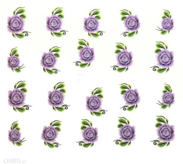 SENECIO® Iris Purple Rose Nail Art Manicure Decals Water Transfer Stickers 1 Sheet Size :6.2*5.2cm
