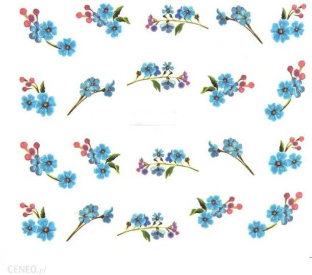 SENECIO® Blue Blossom Nail Art Manicure Decals Water Transfer Stickers 1 Sheet Size :6.2*5.2cm