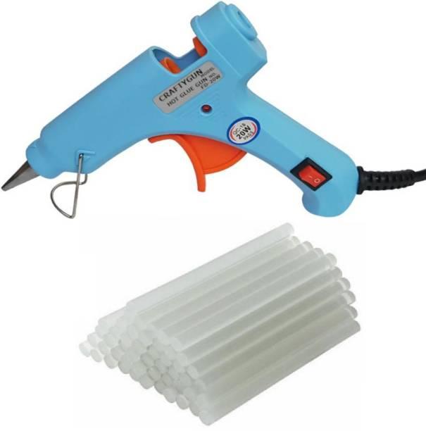 CRAFTYGUN SKY BLUE MINI 20 WATT - 25 GLUE STICKS OF 7MM SIZE Standard Temperature Corded Glue Gun