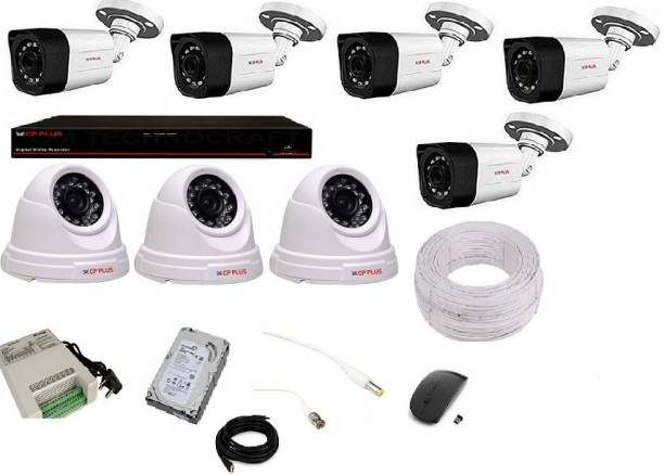 CP PLUS 5 BULLET 3 DOME (2.4MP), 8 CHANNEL DVR, 8 CHANNEL POWER SUPPLY, 90M WIRE BUNDLE, 1TB HDD, WIRELESS MOUSE WITH ALL ACCESSORIES Security Camera