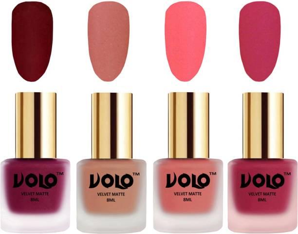 Volo Velvet Dull Matte Posh Shades Party Girl Range Nail Polish Sets Combo-No-204 Light Peach, Dark Peach, Passion Pink, Carrot Red
