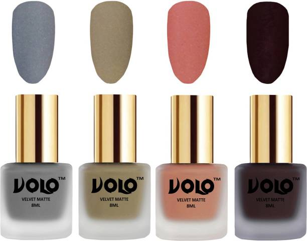 Volo Velvet Dull Matte Posh Shades Party Girl Range Nail Polish Sets Combo-No-119 Dark Wine, Sand Nude, Light Peach, Grey