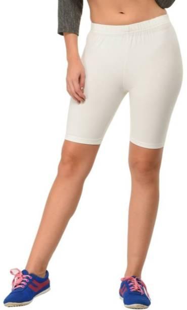 Apraa & Parma Solid Women White Gym Shorts, Cycling Shorts, Running Shorts, Running Shorts