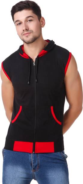 LIFEIDEA Solid Men Hooded Neck Red, Black T-Shirt