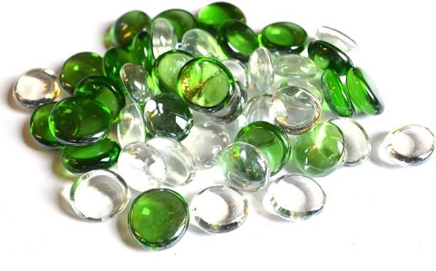 DaY Green And Transparent Glass Pebbles Vase Fillers(100g) Vase Filler
