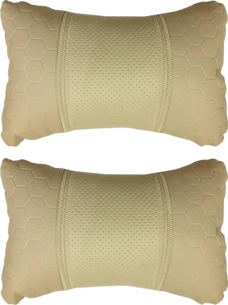 AdroitZ Beige Leatherite Car Pillow Cushion for Toyota