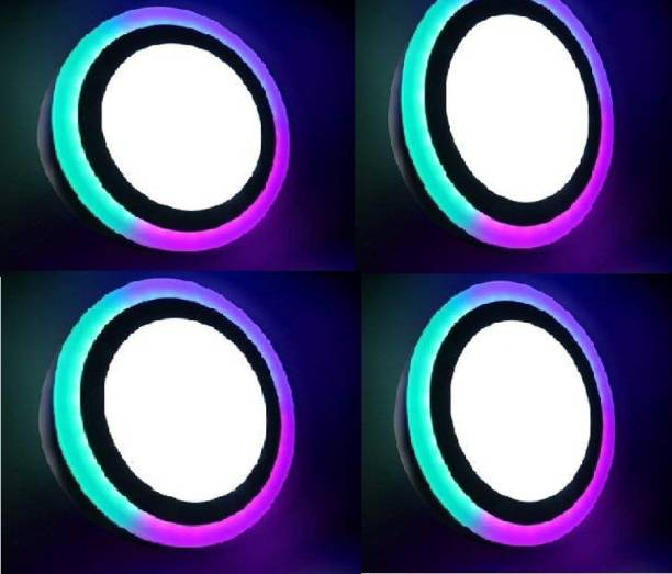 D'Mak 6 Watt Round Surface Dual Multi Color PGB (Pink,Green,Blue) LED Panel Light White+Pgb Lamp Downlight AC 100-265V Lights with IC Driver Energy Super Saver (6.00 Watts) | led color panel light | (Pack OF 04) Recessed Ceiling Lamp