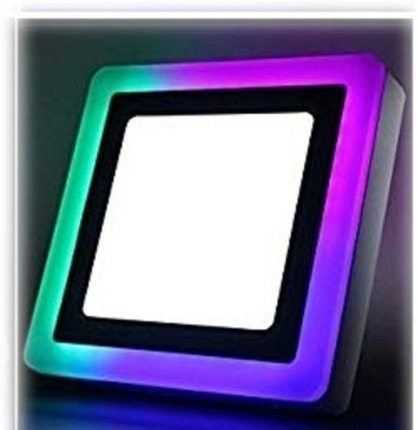 D'Mak 6 Watt Square Surface Dual Multi Color PGB (Pink,Green,Blue) LED Panel Light White+Pgb Lamp Downlight AC 100-265V Lights with IC Driver Energy Super Saver (6.00 Watts)   led color panel light   (Pack OF 01) Flush Mount Ceiling Lamp